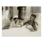 WWI Nurse reads to recuperating Soldier Poster