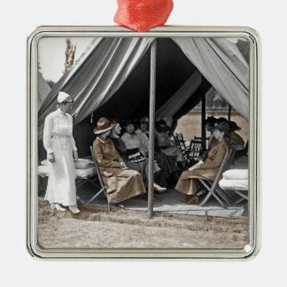 WWI Nurse Trainees Square Metal Christmas Ornament