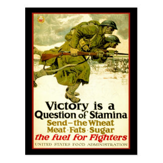 WWI poster about soldier s food supply Post Card