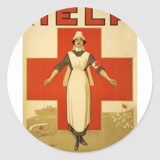 WWI Poster Red Cross Vintage Classic Round Sticker