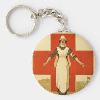 WWI Poster Red Cross Vintage Keychain