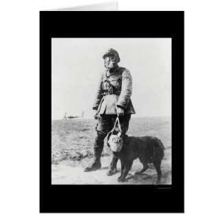 WWI Sergeant and His Dog Wearing Gas Masks 1915 Greeting Cards
