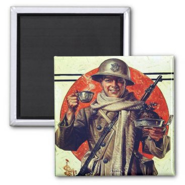 WWI Soldier at the Holidays Magnet