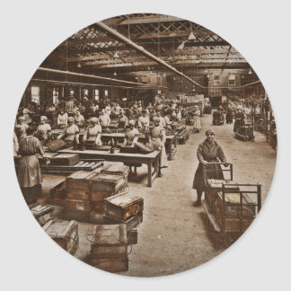 WWI Women Workers in Munitions Factory Classic Round Sticker