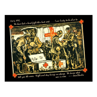 WWI Wounded Soldiers at Red Cross Truck Postcards
