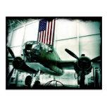 WWII Airplane American Flag Patriotic Postcards
