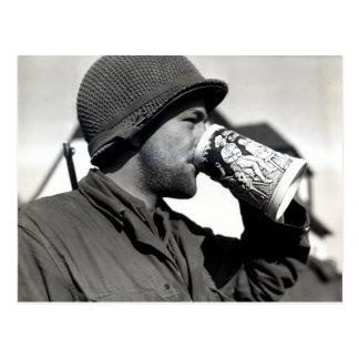 WWII American Soldier Drinking Beer Postcard