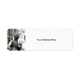 WWII American Soldier in Bastogne Label