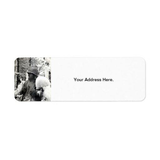 WWII American Soldier in Bastogne Return Address Labels