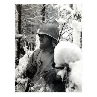 WWII American Soldier in Bastogne Postcard