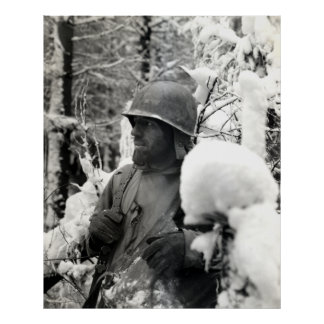 WWII American Soldier in Bastogne Poster