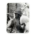 WWII American Soldier in Bastogne Vinyl Magnet