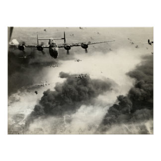 WWII B-24s over Ploesti Oil Fields Poster