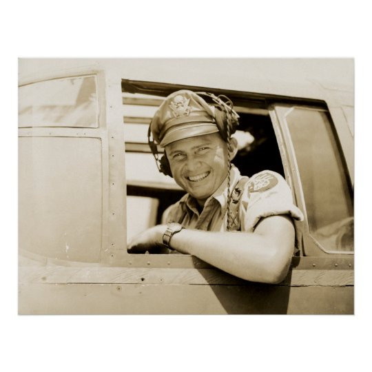 WWII B-25 Mitchell Pilot Poster