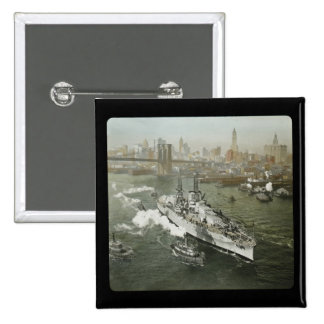 WWII Battleship on the Hudson River Vintage 2 Inch Square Button