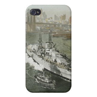 WWII Battleship on the Hudson River Vintage Cover For iPhone 4