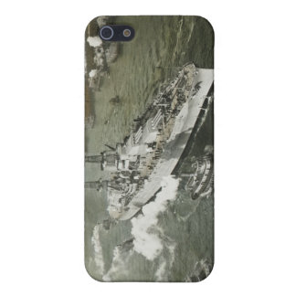 WWII Battleship on the Hudson River Vintage Cover For iPhone SE/5/5s