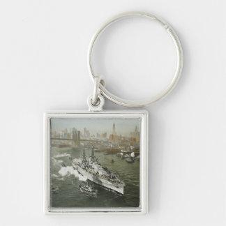 WWII Battleship on the Hudson River Vintage Keychain