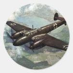 WWII Bf-110 alemán en vuelo Etiquetas Redondas