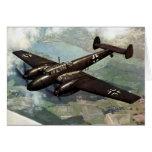 WWII Bf-110 alemán en vuelo Felicitaciones