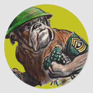 WWII bulldog dog soldier Sgt. Rover Classic Round Sticker