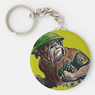 WWII bulldog dog soldier Sgt. Rover Keychain