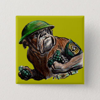 WWII bulldog dog soldier Sgt. Rover Pinback Button