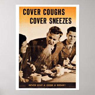 WWII Cover Coughs - Vintage Patriotism Poster
