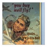 """WWII Era 5.25"""" Square Invitation Card"""