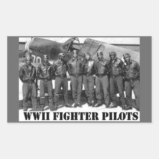 WWII FIGHTER PILOTS RECTANGULAR STICKER