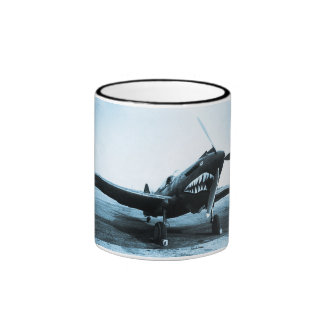 WWII Flying Tigers Curtiss P-40 Fighter Plane Ringer Mug