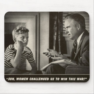 WWII Funny Advice 1940s Vintage Father Son War Mouse Pad