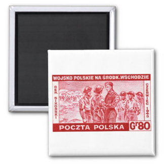 WWII General Sikorski 2 Inch Square Magnet