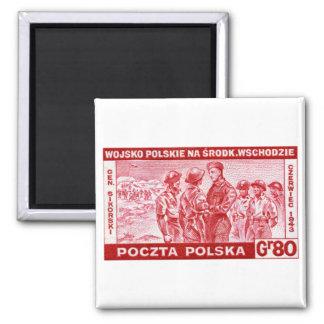 WWII General Sikorski 2 Inch Square Magnet