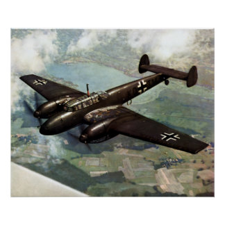WWII German Bf-110 in Flight Poster