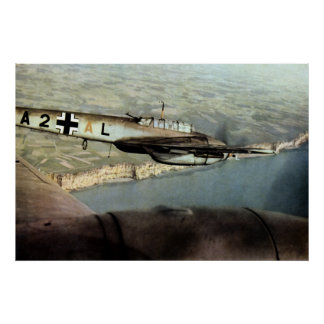 WWII German ME-110 over English Channel Poster