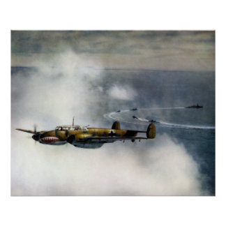 WWII German ME-110 over the North Sea Poster