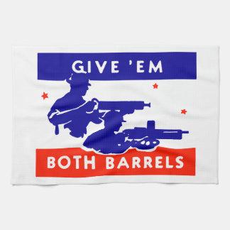 WWII Give 'em Both Barrels Hand Towel