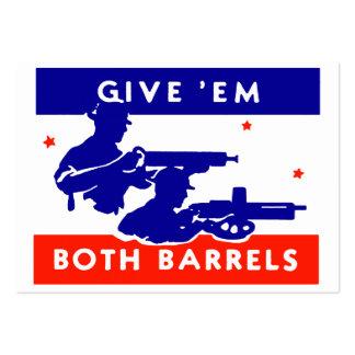 WWII Give 'em Both Barrels Large Business Cards (Pack Of 100)