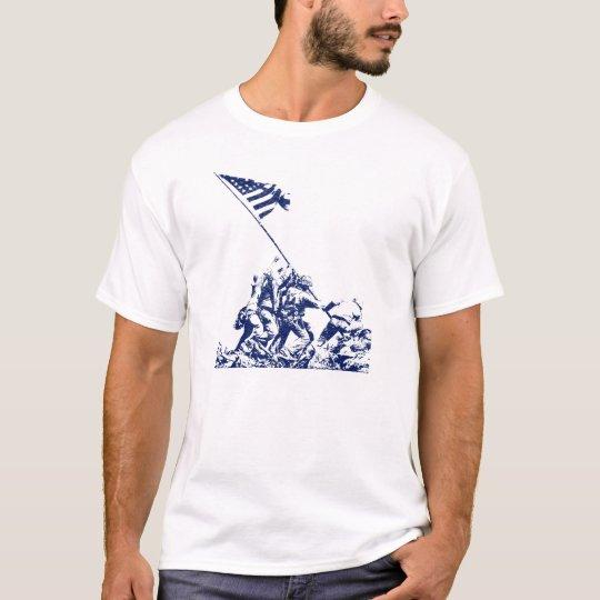 WWII Iwo Jima Flag Raising, blue T-Shirt