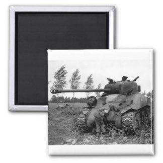 WWII KIA British Firefly Tank, Holland 2 Inch Square Magnet