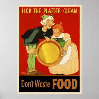 WWII lamen la comida inútil Limpia-Don't del disco Posters