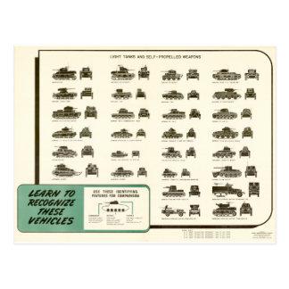 WWII Light Tank ID Chart Postcard