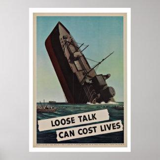 WWII Loose Lips - Vintage Patriotism Poster