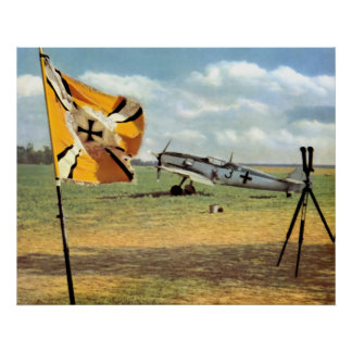 WWII Luftwaffe Airfield + ME-109 Poster