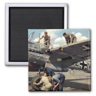 WWII Luftwaffe Ground Crew + ME-110 Fridge Magnet