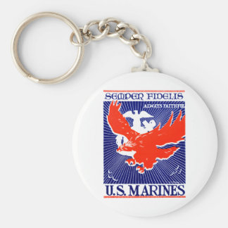 WWII Marine Corps Poster Key Chains