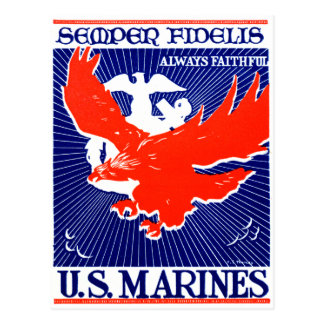 WWII Marine Corps Poster Postcard