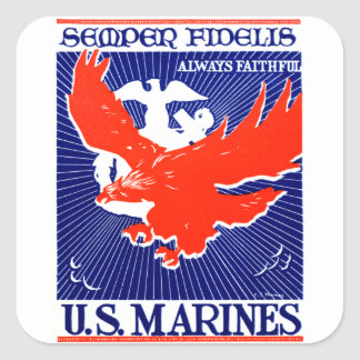 WWII Marine Corps Poster Square Sticker