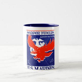 WWII Marine Corps Poster Two-Tone Coffee Mug